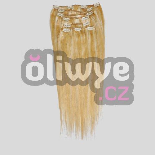 Vlasy clip in on remy melír #27/613 blond/sv. hnědá 50cm 100g